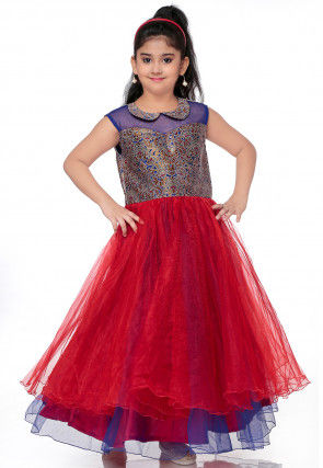Plain Net Layered Gown in Red and Blue