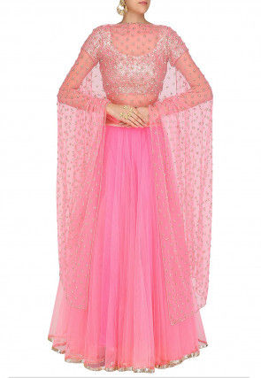 Plain Net Lehenga in Pink
