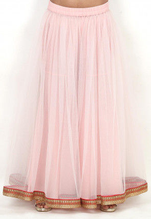 Plain Net Sharara in Baby Pink