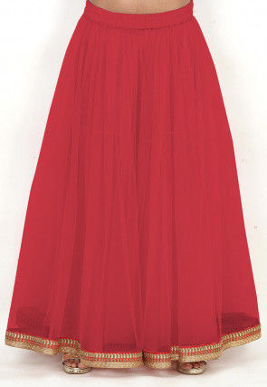 Plain Net Sharara in Coral Red