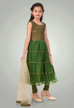 Plain Net Tiered Suit in Green