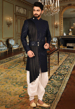 Plain Polyester Dhoti Sherwani in Navy Blue and Black