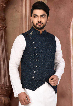Plain Polyester Lycra Asymmetric Nehru Jacket in Navy Blue