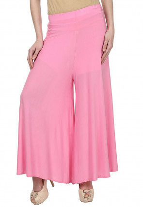 Plain Polyester Lycra Palazzo in Pink