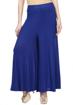 Plain Polyester Lycra Palazzo in Royal Blue