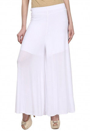 Plain Polyester Lycra Palazzo in White