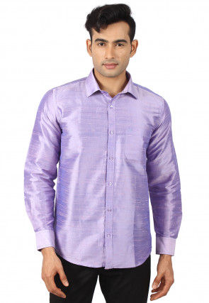 Plain Pure Dupion Silk Shirt in Lilac