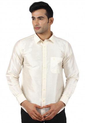 Plain Raw Silk Shirt in Cream
