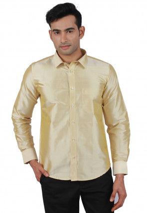 dcd26378c3fcff Plain Raw Silk Shirt in Cream