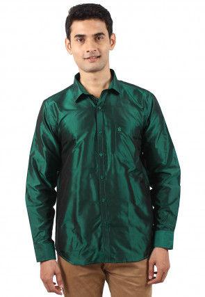 Plain Pure Silk Shirt in Dark Green