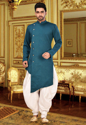 Plain Quilted Scuba Sherwani in Teal Blue