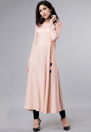 Plain Rayon A Line Kurta in Baby Pink