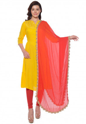 Plain Rayon A Line Suit in Yellow
