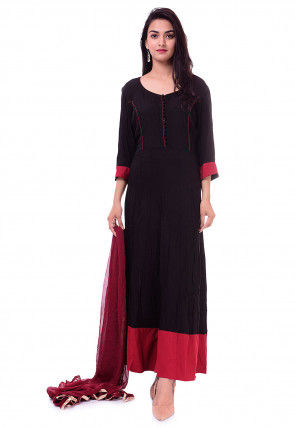 Plain Rayon Abaya Style Suit in Black