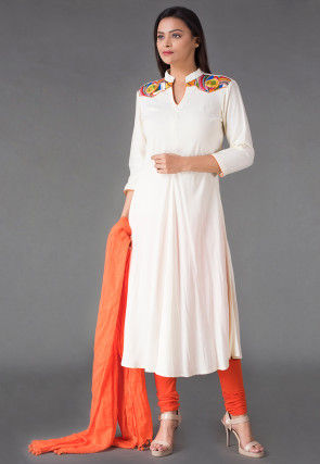 Plain Rayon Anarkali Suit in Off White