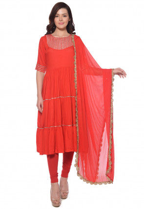 Plain Rayon Anarkali Suit in Red