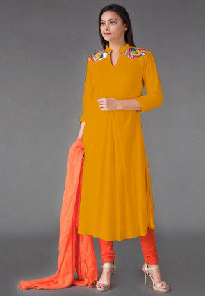 Plain Rayon Anarkali Suit in Yellow