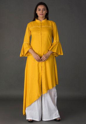 Plain Rayon Asymmetric Kurta Set in Mustard