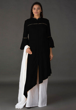 Plain Rayon Asymmetric Pakistani Suit in Black