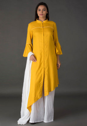 Plain Rayon Asymmetric Pakistani Suit in Mustard
