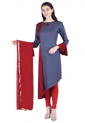 Plain Rayon Asymmetric Suit in Maroon and Grey