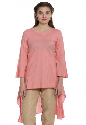 Plain Rayon Asymmetric Tunic in Peach