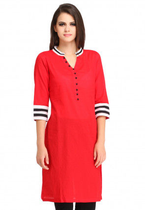 Plain Rayon Cotton Straight Kurti in Red
