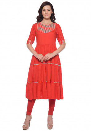Plain Rayon Flared Kurta Set in Coral Red