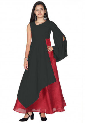 Plain Rayon Gown in Grey and Maroon