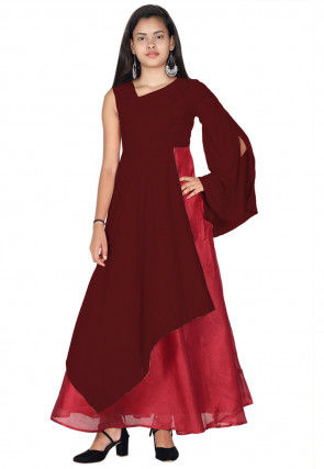 Plain Rayon Gown in Maroon
