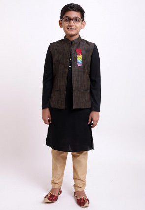 Plain Rayon Kurta Jacket Set in Black and Brown