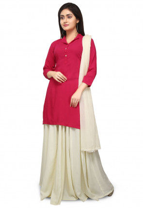 Plain Rayon Lehenga in Fuchsia and Cream