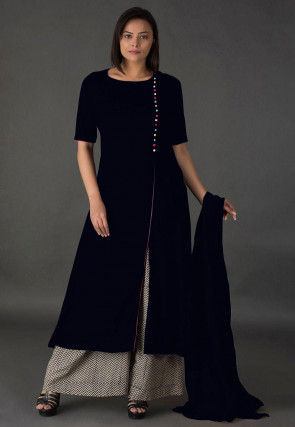 Plain Rayon Pakistani Suit in Black