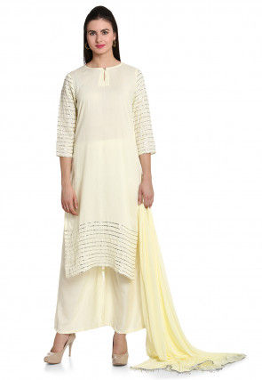 Plain Rayon Pakistani Suit in Cream