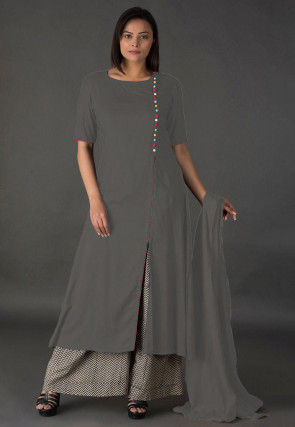 Plain Rayon Pakistani Suit in Grey