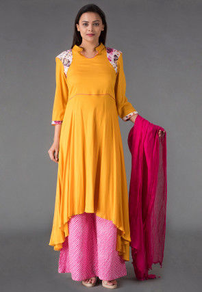 Plain Rayon Pakistani Suit in Mustard