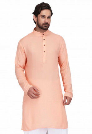 Plain Rayon Straight Kurta in Peach