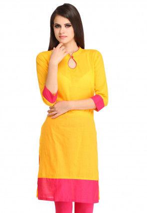 Plain Rayon Straight Kurta in Yellow