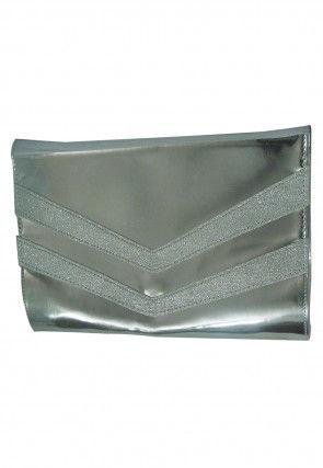 Plain Rexin Envelope Sling Cum Clutch Bag in Silver