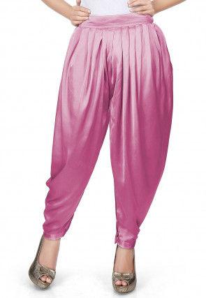 Plain Satin Dhoti Pant in Pink