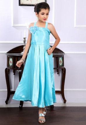Plain Satin Pleated Maxi Dress in Light Blue