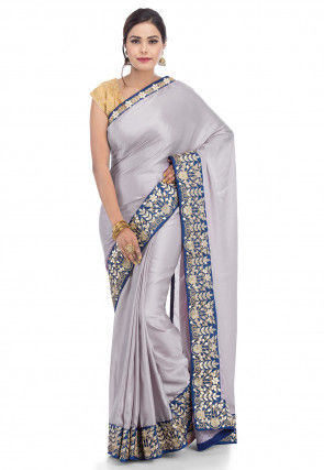 Plain Satin Saree in Grey