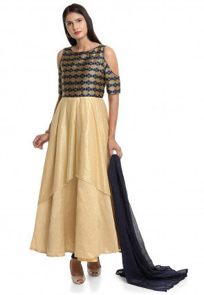 Plain Shimmer Lycra Abaya Style Suit in Blue and Beige