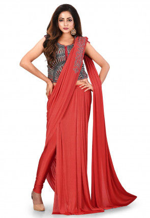 Plain Shimmer Lycra Pre-stitched Saree in Coral Red
