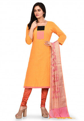 Plain South Cotton Straight Suit in Orange