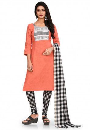 Plain South Cotton Straight Suit in Orange