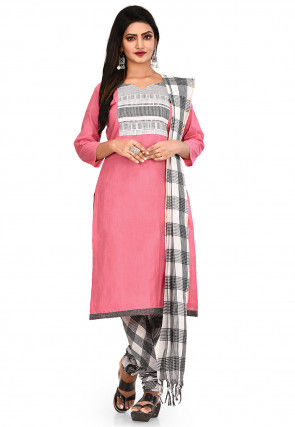 Plain South Cotton Straight Suit in Pink