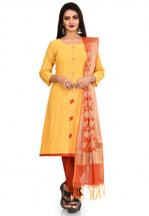 Plain South Cotton Straight Suit in Yellow
