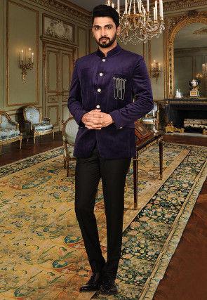 Plain Suede Coat N Pant in Indigo Blue