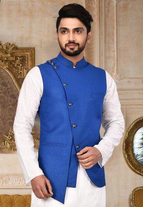 Plain Terry Rayon Nehru Jacket in Royal Blue